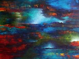 """As My Sky Floated Upstream 36"""" x 48"""" #1067 acrylic on canvas"""