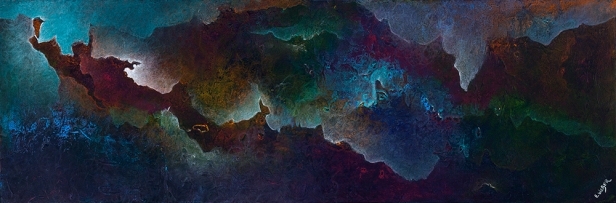 "Dark With Heavy Drops, 12"" x 36"" $700"