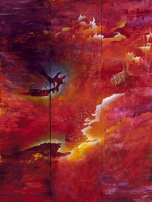 "Ecstasy, Honey, and Wine, 60"" x 45"" (triptych) $2600"