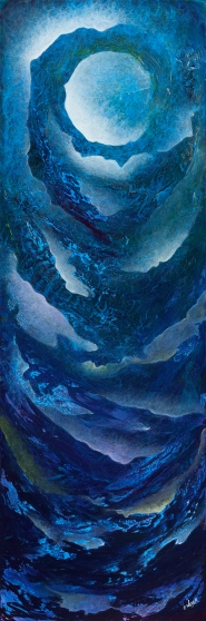 """""""A Lunar Lullaby To Ebb And Flow To"""" 45"""" x 15"""" #1312 acrylic on canvas"""