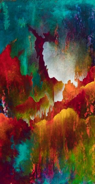 """Apocryphal Beliefs, acrylic on canvas, 46"""" x 24"""" (framed ), $1250"""