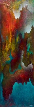 """I embrace the Shattering, acrylic on canvas, 36"""" x 12"""", $650"""