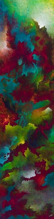 "Pretty Fetters, acrylic on canvas, 60"" x 15"", $1400"