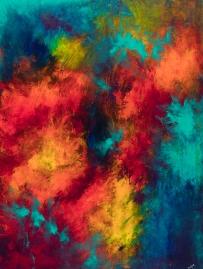 "Sentinels, acrylic on canvas, 40"" x 30"", $1200"