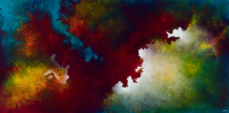 "Here Be Dragons, acrylic on canvas, 36"" x 72"", $2500"