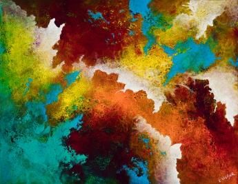 "Breaking Skies, 11"" x 14"", acrylic on canvas, $600"