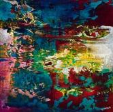 "Murmuration, acrylic on canvas, 12"" x 12"", $600"
