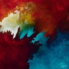 "Reaching, acrylic on canvas, 12"" x 12"", $600"