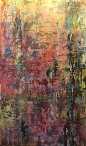"A Conversation at Twilight acrylic on canvas 60"" x 36"" $1950"