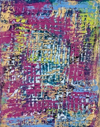 """Tapestry Series: Remnant II, 14"""" x 11"""", acrylic on canvas, $600"""