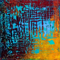 """Tapestry Series: Remnant IV, 10"""" x 10"""", acrylic on canvas, $550"""