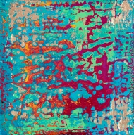"""Tapestry Series: Remnant VIII, 6"""" x 6"""", acrylic on canvas, $475"""